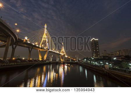 The Bhumibol Bridge is beautifully after sunset