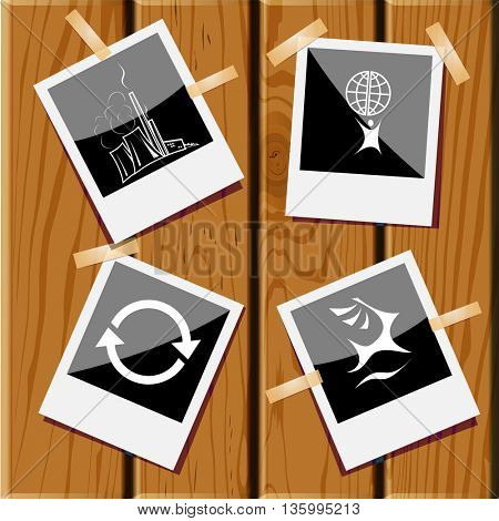 4 images: deer, little man with globe, recycle symbol, thermal power engineering. Ecology set. Photo frames on wooden desk. Vector icons.