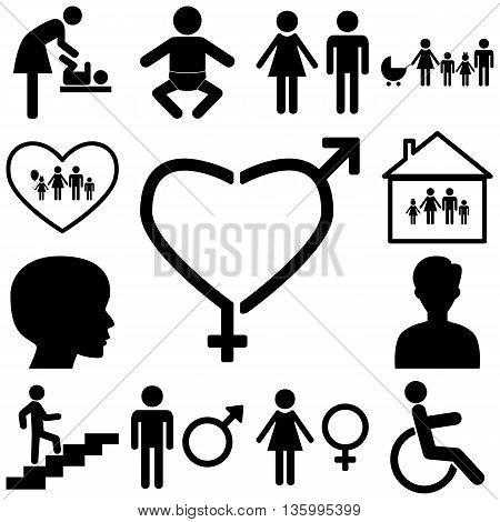Family sign illustration. Flat icons Vector illustration