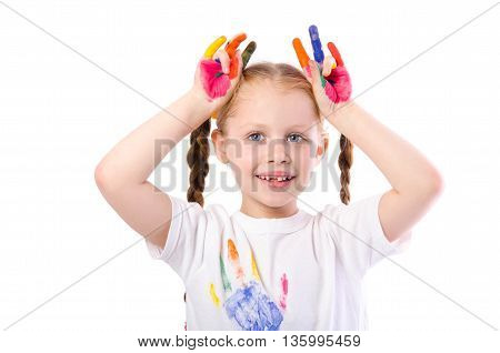 Funny Girl With Hands Painted In Colorful Paint  Isolated On White Background