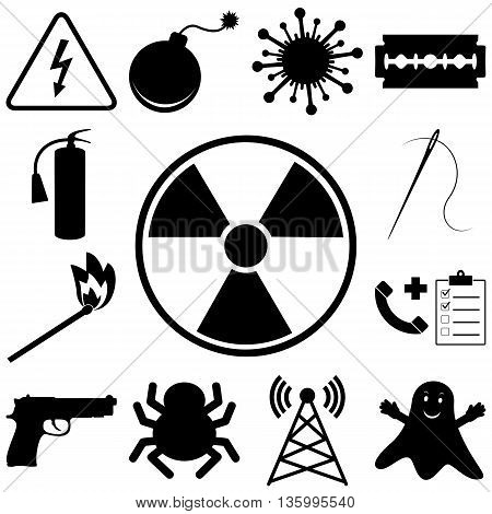 Dangerous and icons set. Flat style vector illustration