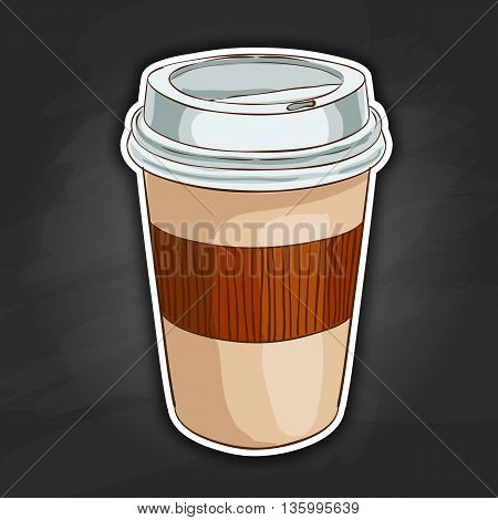 Close up take-out coffee with brown cap and cup holder. Isolated on black background. Vector Illustration.