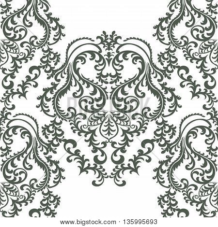 Vector Baroque floral damask ornament pattern. Elegant luxury texture for textile fabrics or backgrounds. taupe color