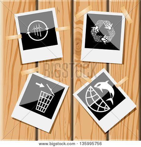 4 images: wind turbine, recycle symbol, recycling bin, globe and shamoo. Ecology set. Photo frames on wooden desk. Vector icons.