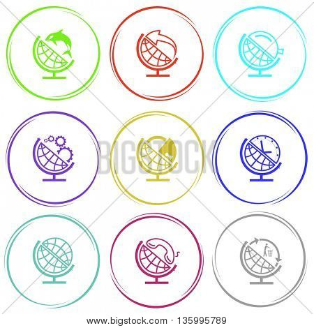 9 images: globe and shamoo, and arrow, and loupe, and gears, and lock, and clock, and handset, and recycling symbol. School globe set. Internet button. Vector icons.