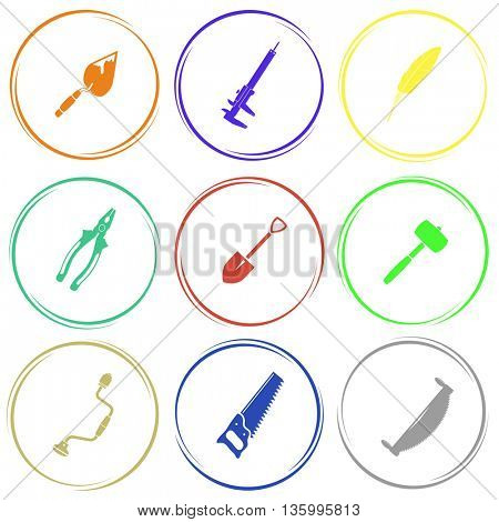 9 images: trowel, caliper, feather, pliers, spade, mallet, hand drill, saw, two-handled saw. Angularly set. Internet button. Vector icons.