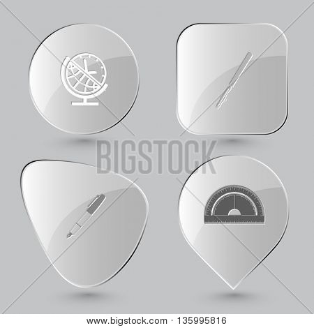 4 images: globe and clock, ruling pen, ink pen and pencil, protractor. Education set. Glass buttons on gray background. Vector icons.