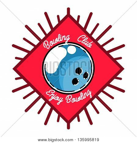 Color vintage bowling emblem and design elements. Logotype templates and badge