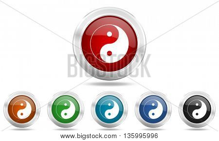 ying yang round glossy icon set, colored circle metallic design internet buttons
