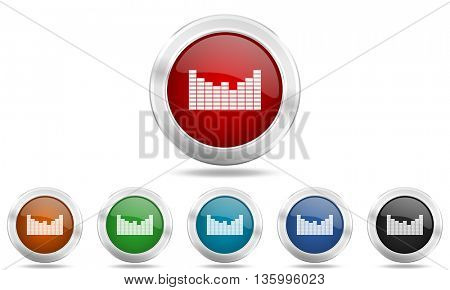sound round glossy icon set, colored circle metallic design internet buttons