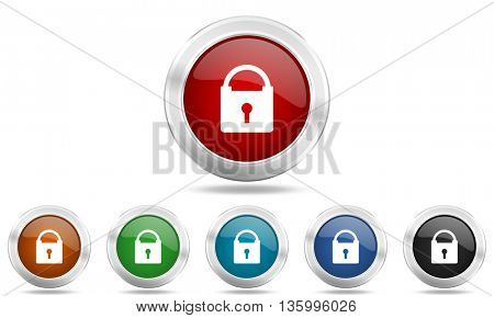 padlock round glossy icon set, colored circle metallic design internet buttons