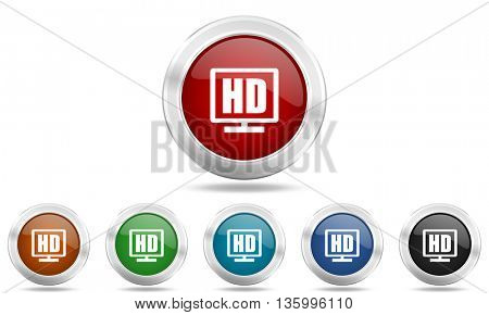 hd display round glossy icon set, colored circle metallic design internet buttons