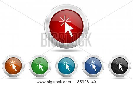 click here round glossy icon set, colored circle metallic design internet buttons