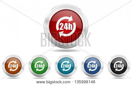 24h round glossy icon set, colored circle metallic design internet buttons