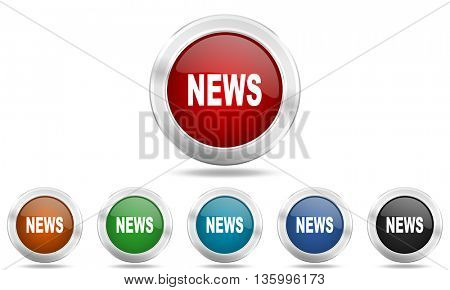 news round glossy icon set, colored circle metallic design internet buttons