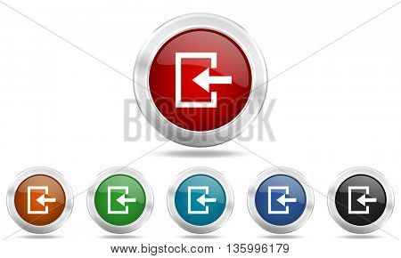 enter round glossy icon set, colored circle metallic design internet buttons
