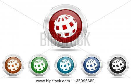 earth round glossy icon set, colored circle metallic design internet buttons