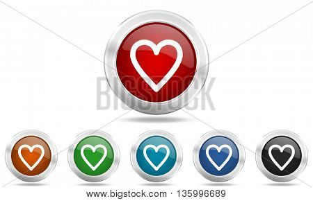 heart round glossy icon set, colored circle metallic design internet buttons