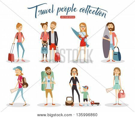 Travel people cartoon collection, vacation people isolated on white background. Vector eps 10 format.