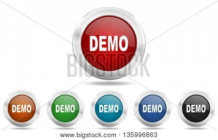 demo round glossy icon set, colored circle metallic design internet buttons