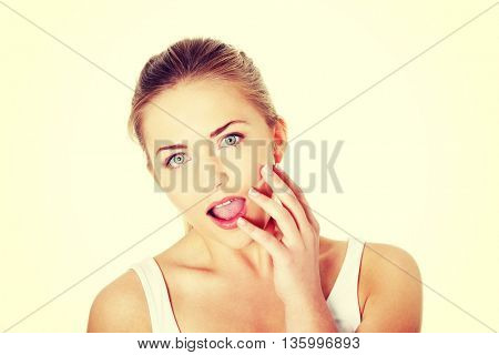 Teenage girl with mouth open