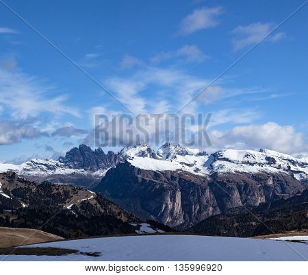 Typical mountain landscape in the Dolomites in Italy,Europe travel concept