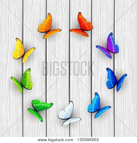 Set of multicolored butterflies arranged in a circle on white wooden background, illustration.