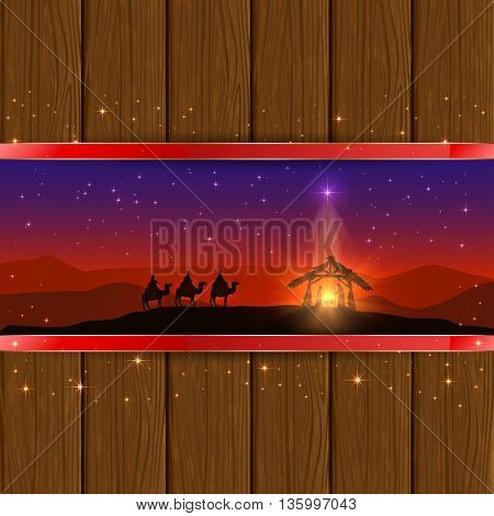 Christmas scene, the birth of Jesus with Christmas star and three wise men on wooden background, illustration.