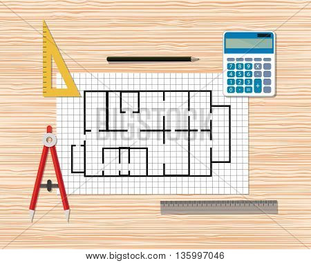 Architectural project. Construction. Building and planning. Engineer wooden desktop with Building plan, Compass Divider, pencil, rulers, calculator. vector illustration in flat style