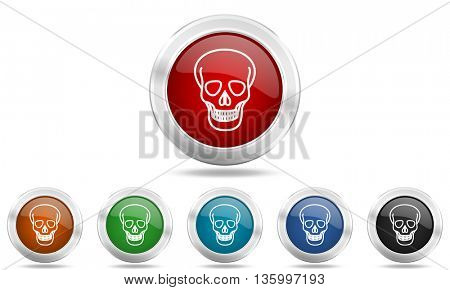 skull round glossy icon set, colored circle metallic design internet buttons