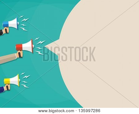 Hands with megaphone and brown bubble for text. social media marketing concept. vector illustration in flat design on green background