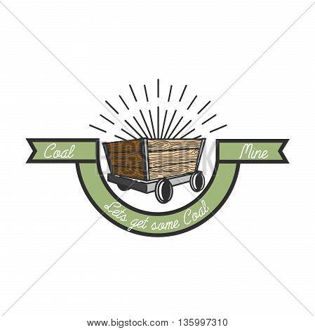 Color vintage coal mining emblem, label, badge, logo. Vector illustration EPS 10