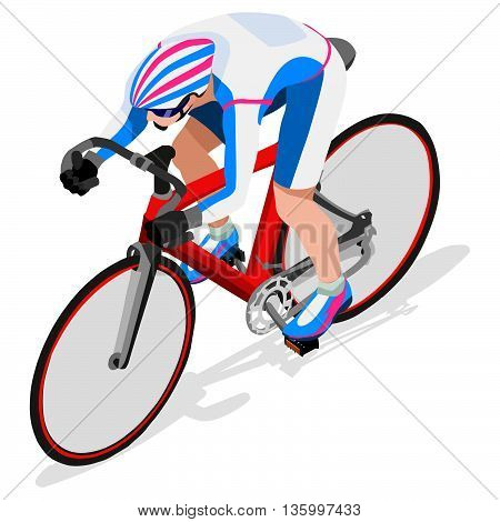 Track Cyclist Bicyclist Athlete  Icon Set.Track Cycling Speed Concept.3D Isometric Athlete.Sporting Bicycle Competition.Sport Infographic Cycling Track Race Vector Illustration