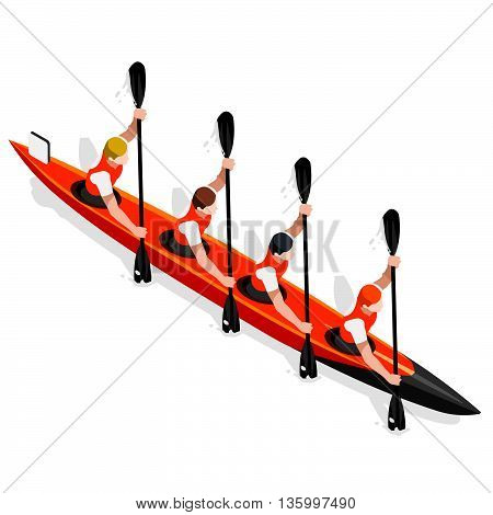 Kayak Sprint Four Summer Games Icon Set.3D Isometric Canoeist Paddler.Sprint Kayak Sporting Competition Race.Sport Infographic Canoe Kayak Vector Illustration