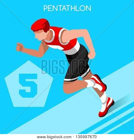 Olympics Pentathlon Summer Games Icon Set.3D Isometric Athlete Pentathlete.Modern Pentathlon Running Swimming Shooting Fencing Equestrian Sporting Competition.Olympics Sport Infographic Pentathlon Vector Image