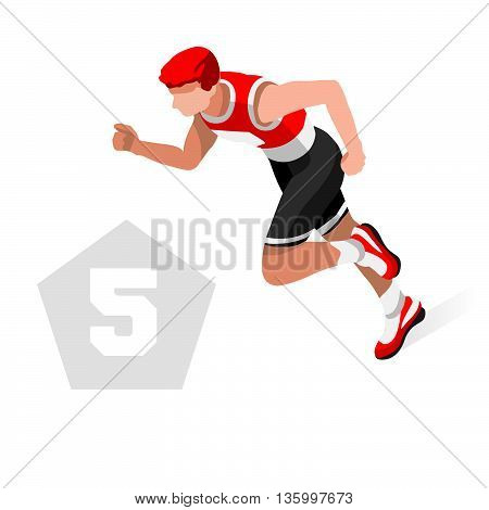 Pentathlon Summer Games Icon Set.3D Isometric Athlete Pentathlete.Modern Pentathlon Running Swimming Shooting Fencing Equestrian Sporting Competition.Sport Infographic Pentathlon Vector Image