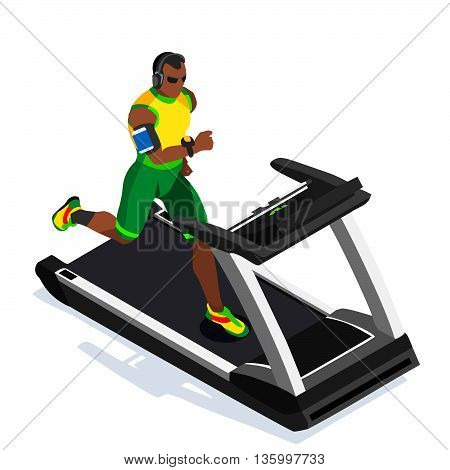Treadmill Gym Class Working Out. Gym Equipment Treadmill Running Black Man Athlete Runners Working Out Gym Class. 3D Flat Isometric Marathon Runners athlete training Vector Image