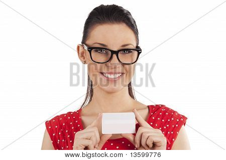 Smiling Girl With Card