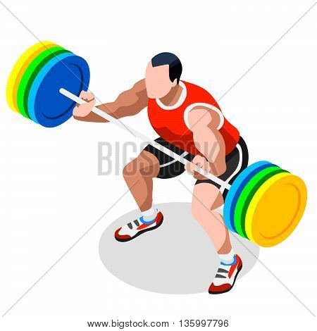 Olympics Weightlifting Summer Games Icon Set.3D Isometric Weightlifter Athlete.Sporting Championship International Competition.Olympics Sport Infographic Athletic Weightlifting Vector Illustration