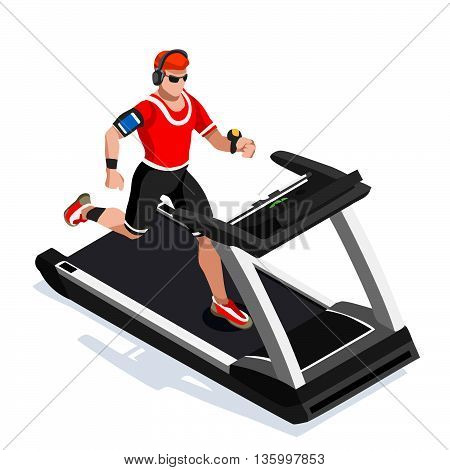 Treadmill Gym Class Working Out. Gym Equipment Treadmill White Man Running Athlete Runners Working Out Gym Class. 3D Flat Isometric Marathon Runners athlete training Vector Image.