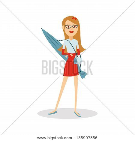 Travel people cartoon. Woman with parasol going to the beach vector character design.