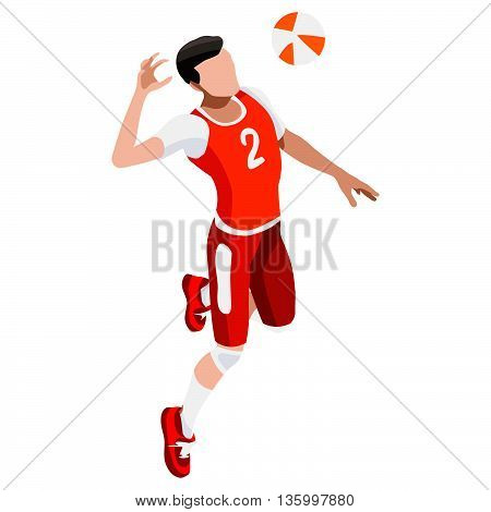 Volleyball Player Sports Icon Set.3D Isometric Beach Volleyball.Sporting Championship International Beach Volley Competition.Olympics Sport Infographic Volley Vector Illustration