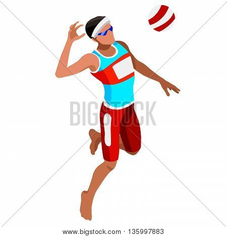 Beach Volley Player Sports Icon Set.3D Isometric Beach Volleyball.Sporting Championship International Beach Volley Competition.Olympics Sport Infographic Volley Vector Illustration