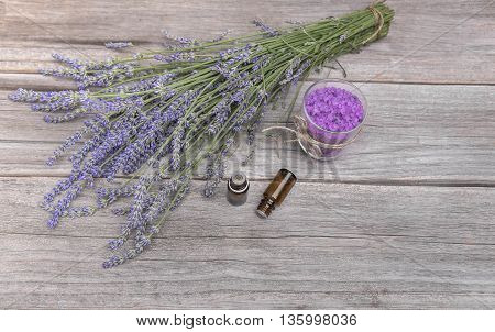 Lavender, sea salt and Aromatic oils on old boards
