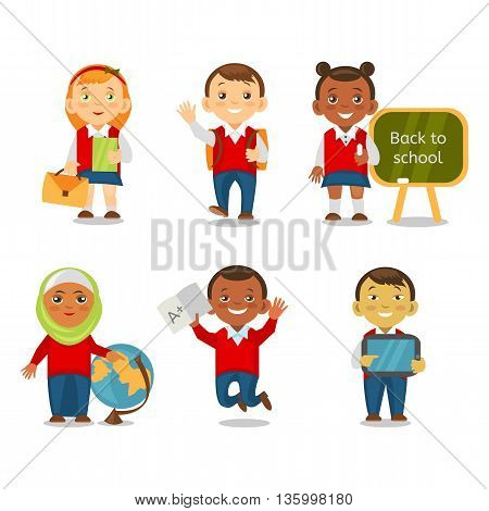 Different ethnic kids back to school. Multicultural school children going to school together. Smiling children cartoon isolated on white background. Vector eps 10 format.