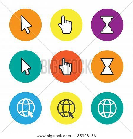 Hand cursor signs arrow pointer symbols and click icons with long shadows vector set eps10