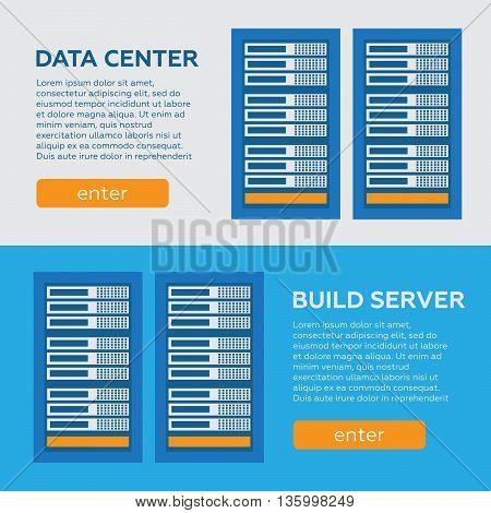Data center and hosting vector banners set. Network internet database eps10