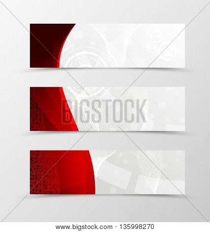Set of banner wave design. Red banner for header with mosaic square surface. Design of banner in geometric style with digital dynamic background. Vector illustration