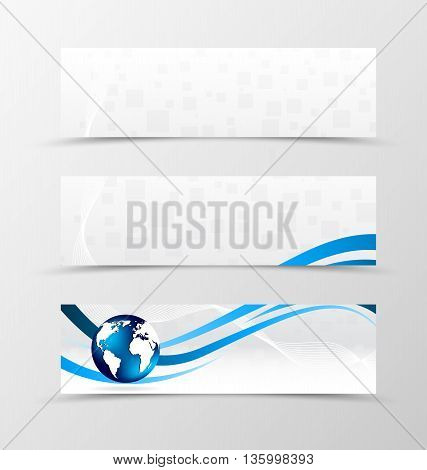 Set of banner wave design. Light banner for header blue lines, globe and digital square surface. Design of banner in geometric style. Vector illustration