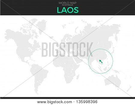 Lao People's Democratic Republic or Laos location modern detailed vector map. All world countries without names. Vector template of beautiful flat grayscale map design with border location